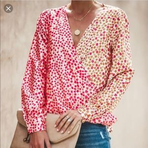🌸 Vici Collection Floral Blouse XS Honey Punch 🌸